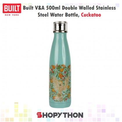 Built V&A 500ml Double Walled Stainless Steel Water Bottle, Cockatoo