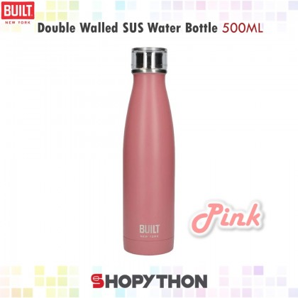 BUILT NY Double Walled Stainless Steel Water Bottle 500ml (Pink)