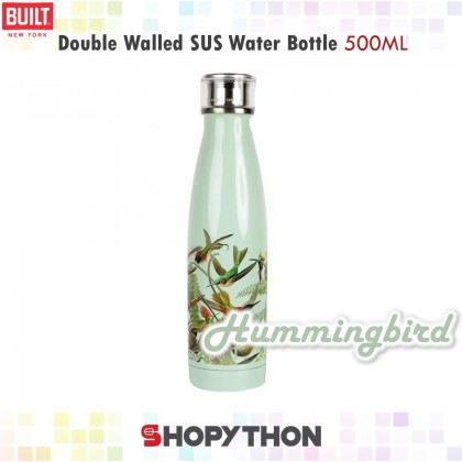 BUILT NY V&A Double Walled Stainless Steel Water Bottle 500ml (Hummingbird)